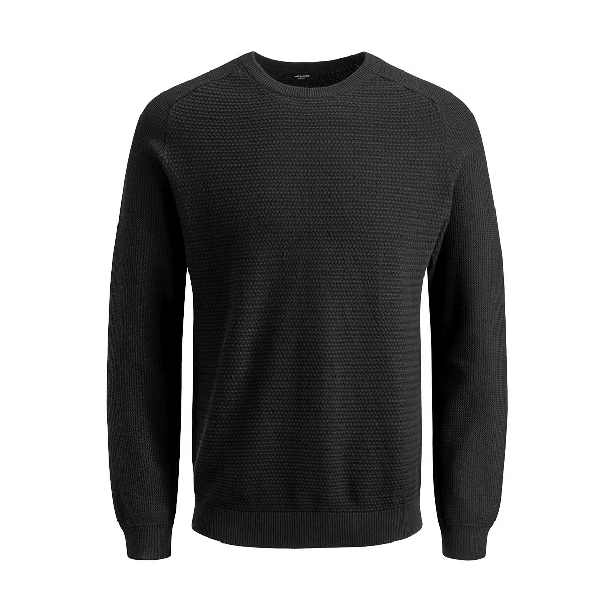 jprpost knit crew neck sts 12141495 jack & jones trui black