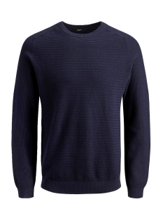 jprpost knit crew neck sts 12141495 jack & jones trui maritime blue