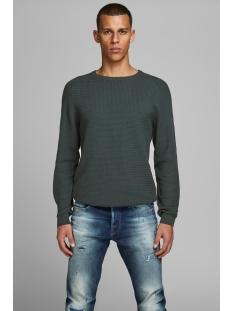 jprpost knit crew neck sts 12141495 jack & jones trui darkest spruce