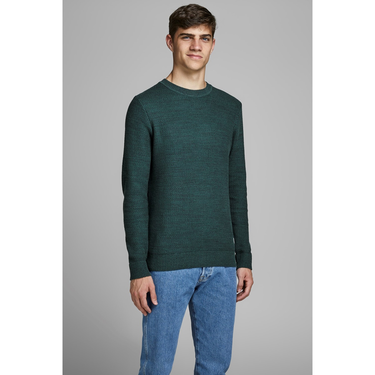 jorfame knit crew neck 12159056 jack & jones trui sea moss/knit fit