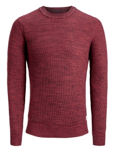 jorfame knit crew neck 12159056 jack & jones trui brick red/knit fit