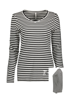 Zoso T-shirt ALIDA STRIPED SHIRT 194 BLACK/OFFWHITE