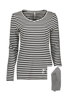 Zoso T-shirt ALIDA STRIPED SHIRT 194 BLACK/OFFWHITE