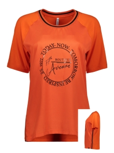 Zoso T-shirt MIXED FABRIC T-SHIRT EVELIEN 194 ORANGE/BLACK