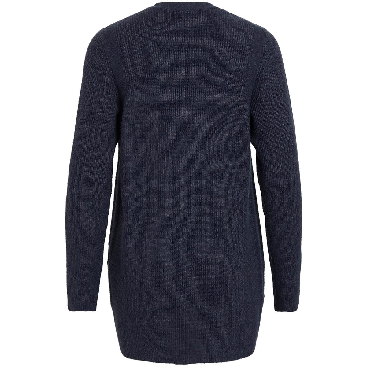 viril l/s  open knit rib cardigan 14051977 vila vest total eclipse/melange