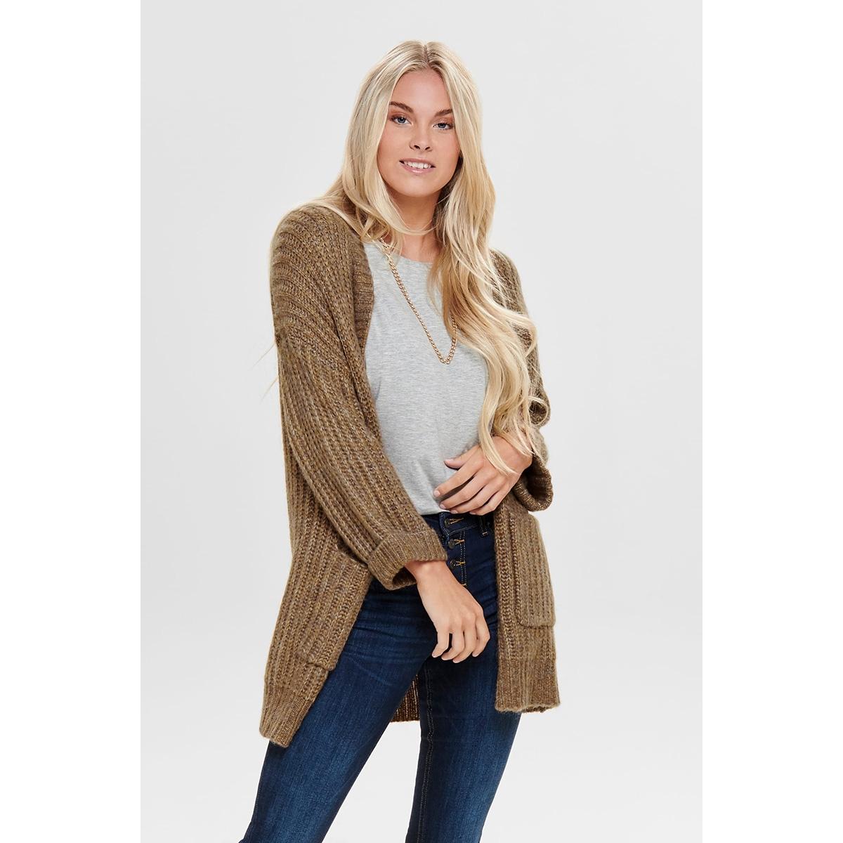 onlchunky 7/8 cardigan knt 15183928 only vest camel/w. multi me
