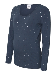 Mama-Licious Positie shirt MLDALLAS L/S JERSEY TOP 20008139 Midnight Navy/SILVER FOIL
