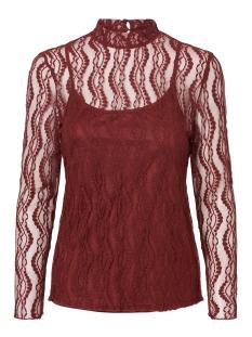 Vero Moda T-shirt VMANJI LS HIGHNECK TOP JRS 10220390 Madder Brown