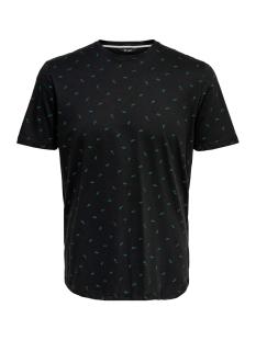 Only & Sons T-shirt onsAB REG AOP TEE 22014574 Black