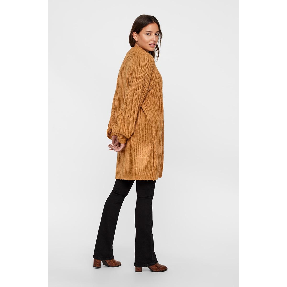 vmpoca ls open rib coatigan 10215844 vero moda vest tobacco brown/w white m