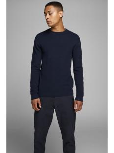 jprfast structure knit crew neck 12163172 jack & jones trui maritime blue