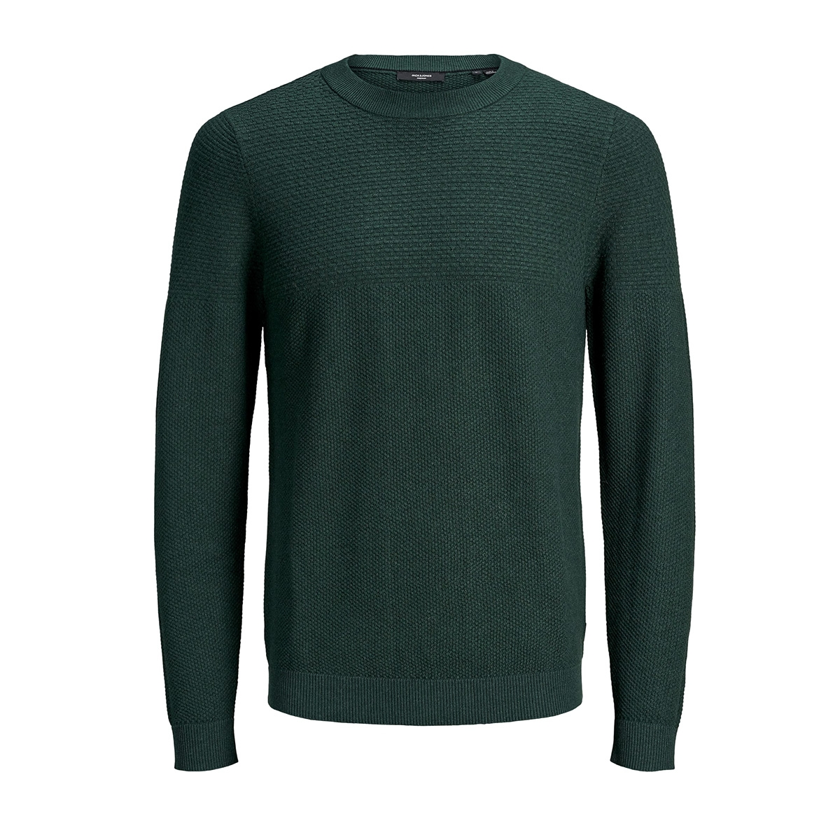 jprfast structure knit crew neck 12163172 jack & jones trui darkest spruce/melange