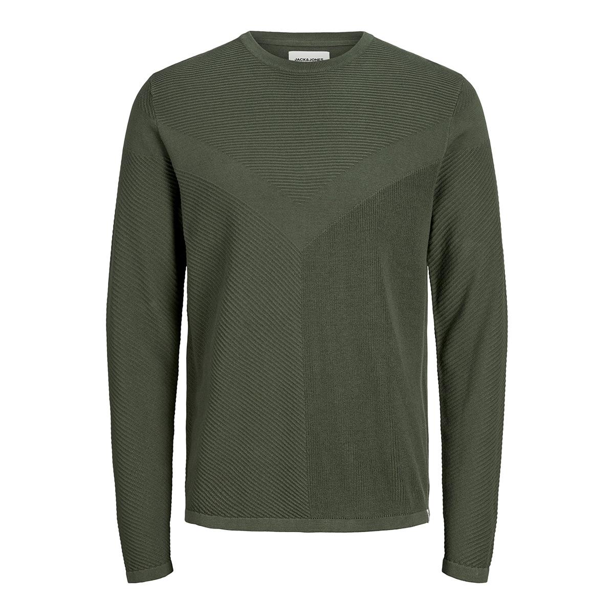 jcomoon knit crew neck 12163320 jack & jones trui forest night/knit fit