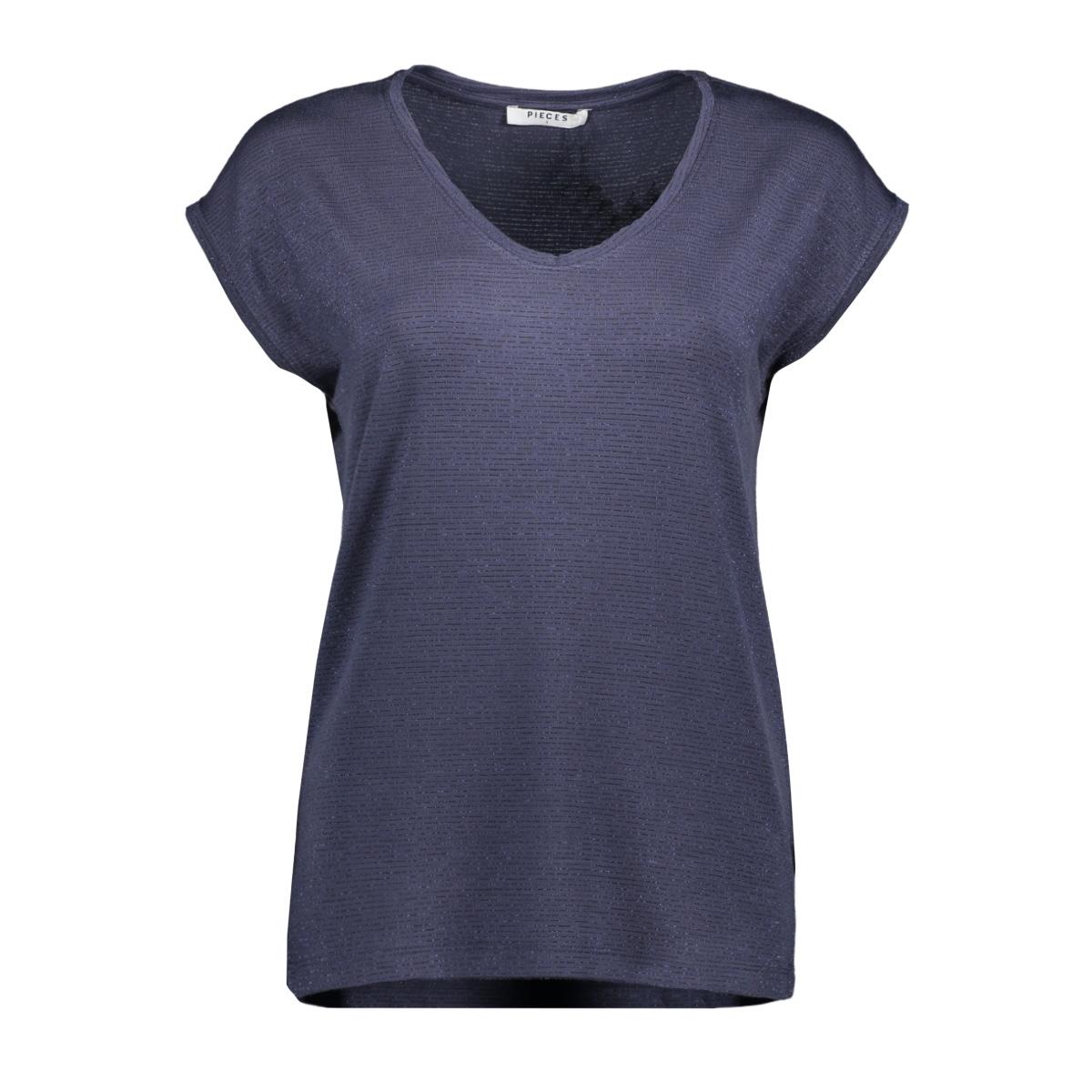 pcbillo tee lurex stripes noos 17078572 pieces t-shirt ombre blue/lurex tone