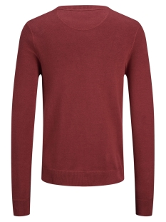 jordouble knit crew neck 12162615 jack & jones trui brick red/knit fit