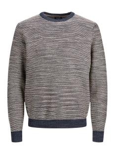 jprlogan knit crew neck 12161702 jack & jones trui dark blue denim
