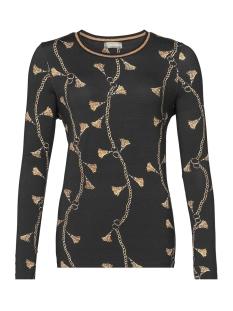 Geisha T-shirt T SHIRT LS TASSELS 92821 60 000999 Black/Camel