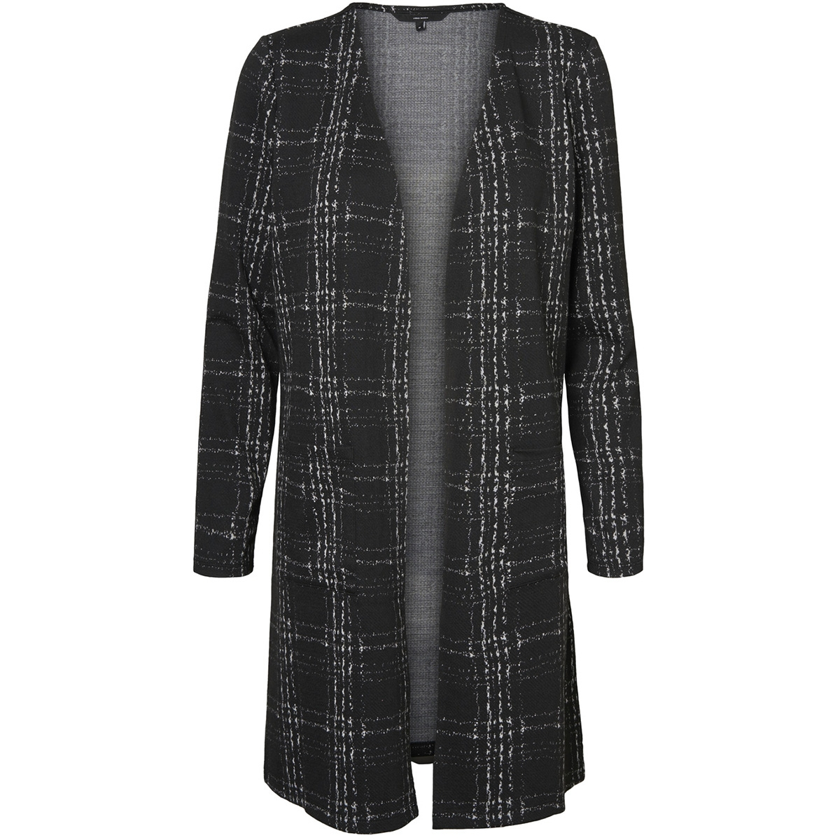 vmerin ls long cardigan jrs 10222146 vero moda vest black/snow white