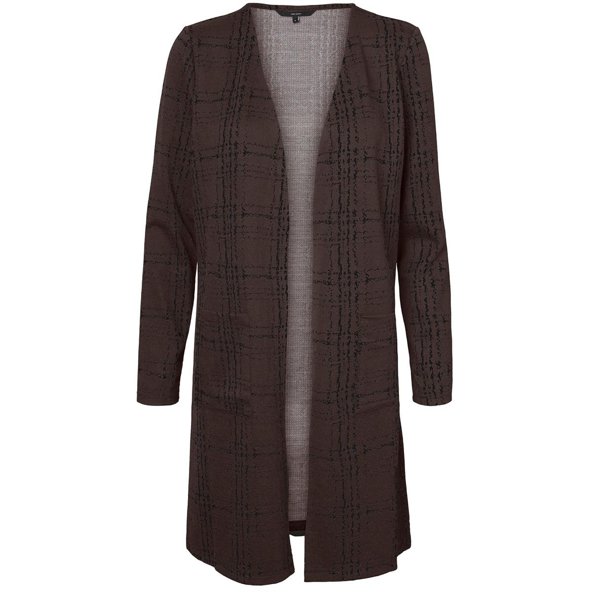 vmerin ls long cardigan jrs 10222146 vero moda vest coffee bean/black chec
