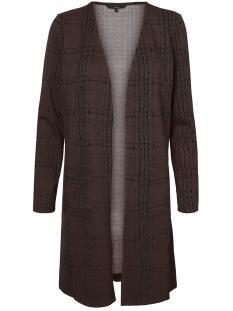 Vero Moda Vest VMERIN LS LONG CARDIGAN JRS 10222146 Coffee Bean/BLACK CHEC