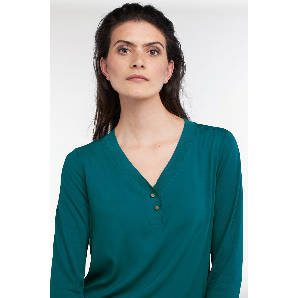 bloezende longsleeve  met rib hals  21101772 sandwich t-shirt 50080