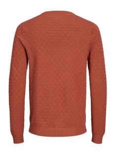 jprblake knit crew neck 12160921 jack & jones trui burnt henna/melange