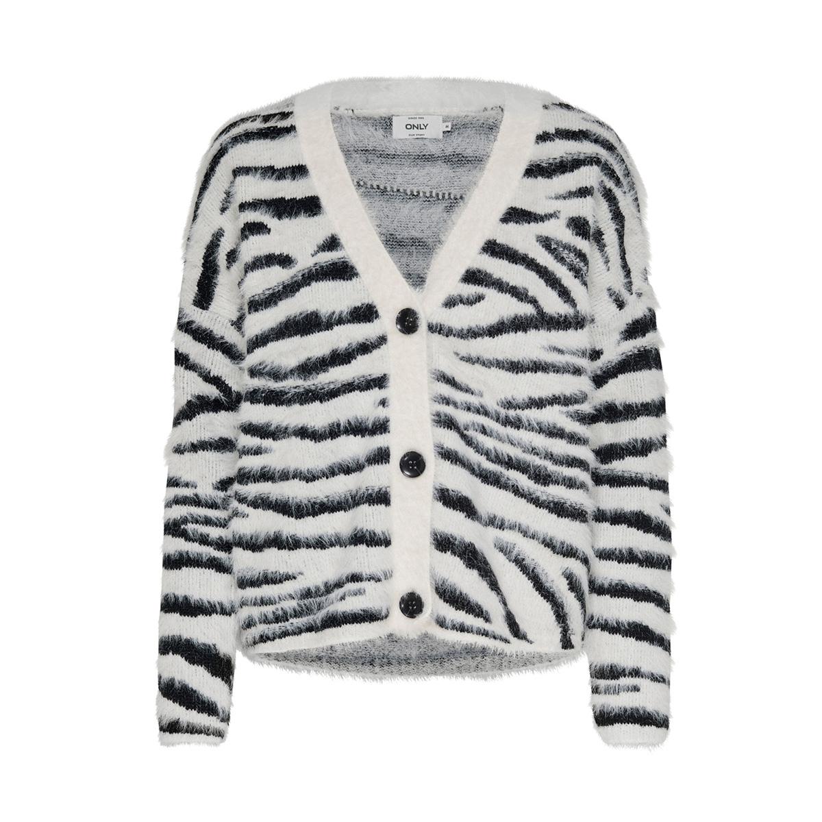onlroar l/s cardigan knt 15192169 only vest cloud dancer/w. black zebra