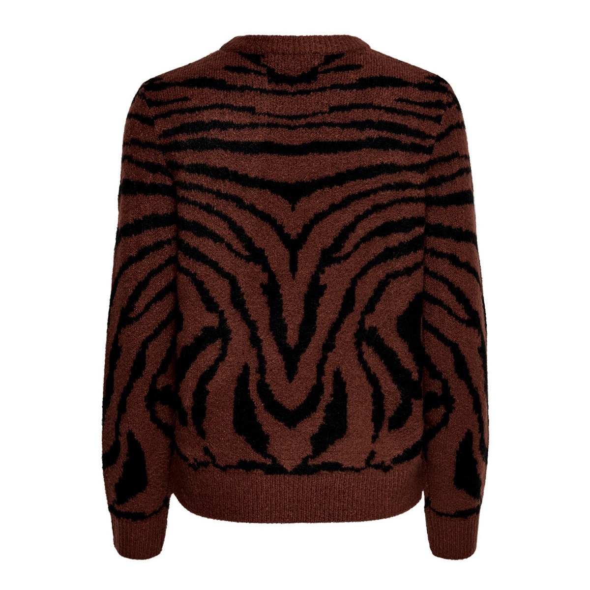 jdyalicia l/s jaquard pullover knt 15190294 jacqueline de yong trui cinnamon/w. black