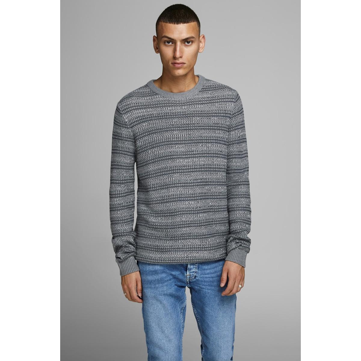 jorflow knit crew neck. 12162644 jack & jones trui grey melange/stripe kni