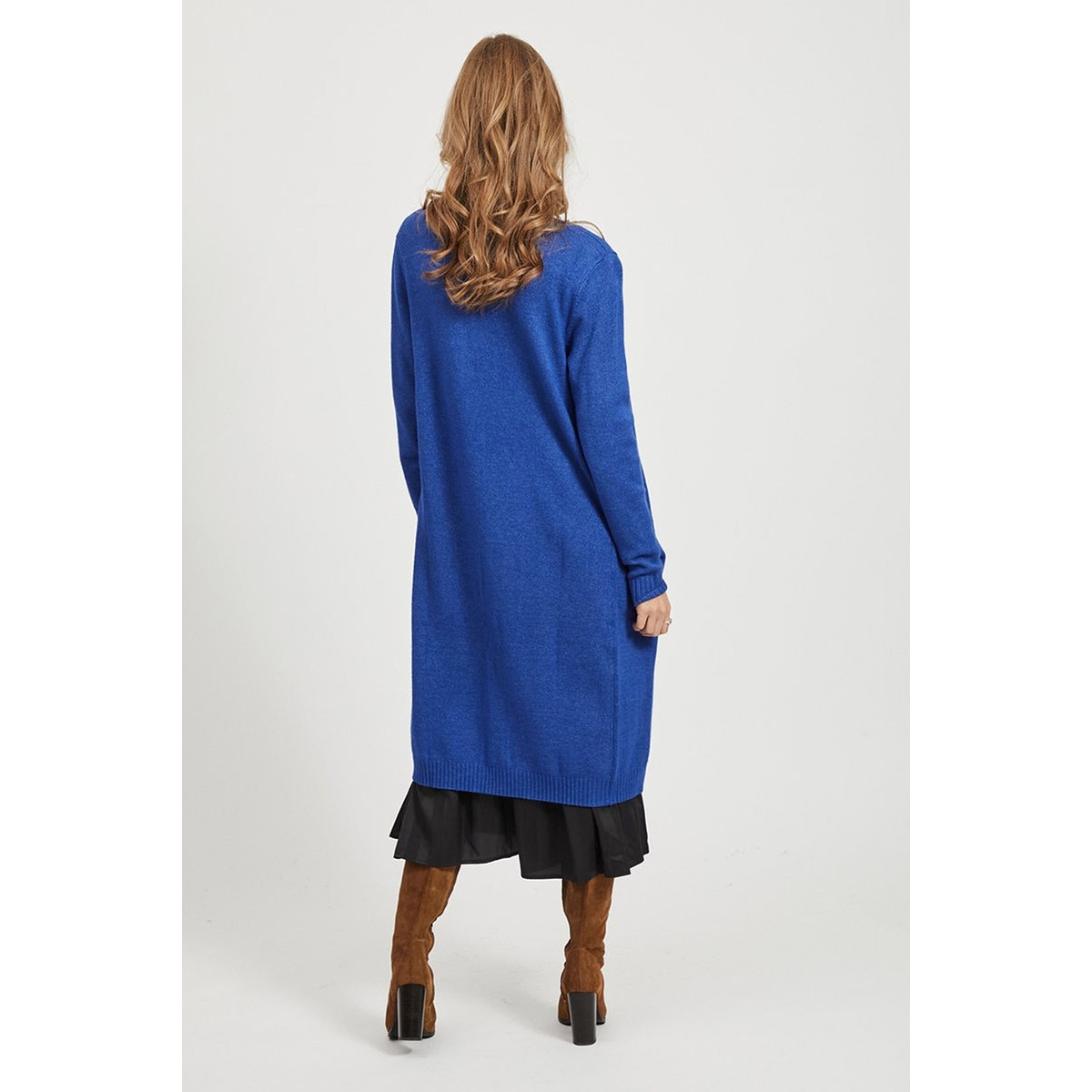 viril l/s long knit cardigan-fav 14043282 vila vest mazarine blue/melange