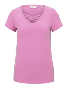 organisch t shirt met vetersluiting 1016438xx71 tom tailor t-shirt 21347