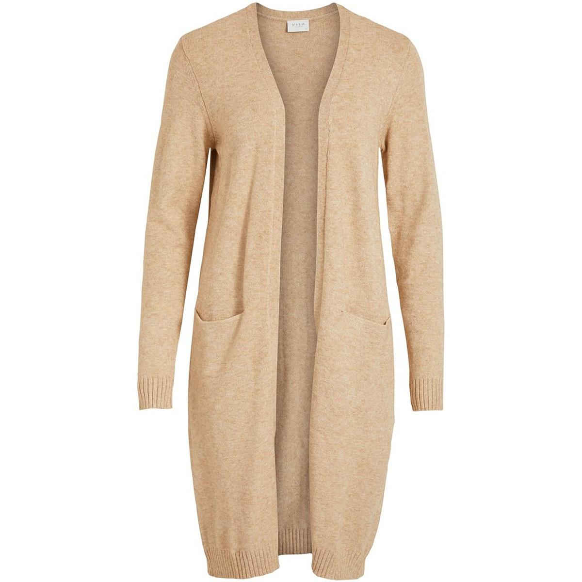 viril l/s long knit cardigan-noos 14042770 vila vest nomad/melange