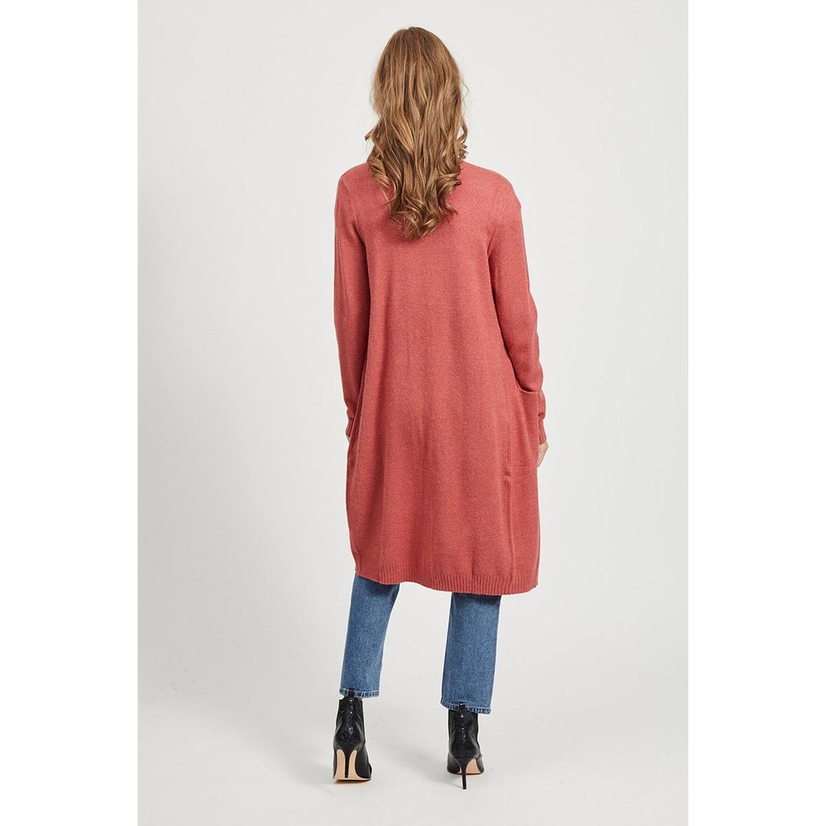 viril l/s long knit cardigan-noos 14042770 vila vest dusty cedar/melange