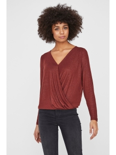 Vero Moda T-shirt VMHONEY LS GLITTER WRAP TOP VO 10223166 Madder Brown/W. GOLD GLITTER