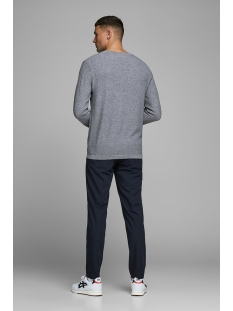 jjerob knit crew neck sts 12168008 jack & jones trui denim blue/twisted