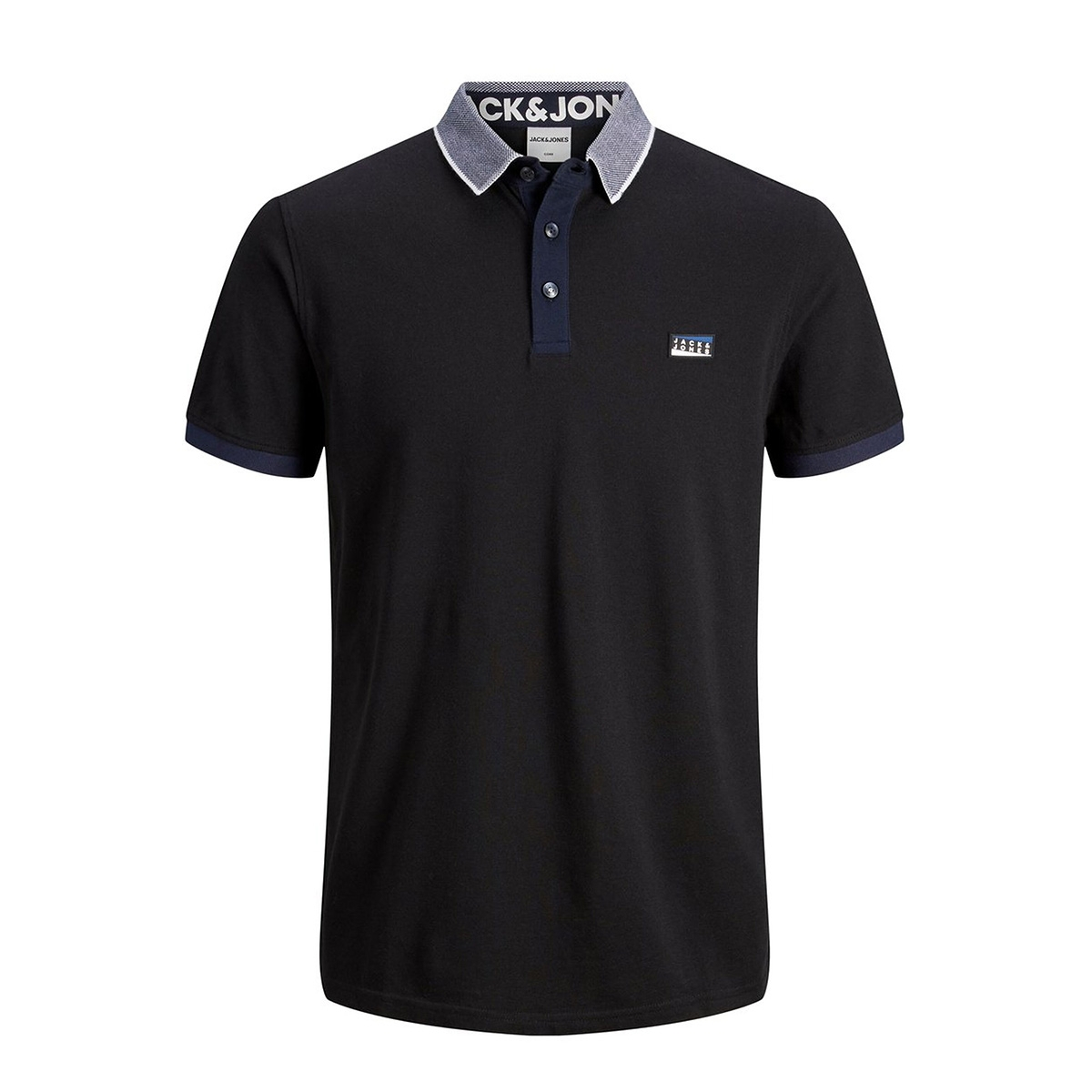 jcocharming polo ss noos 12167174 jack & jones polo black/slim