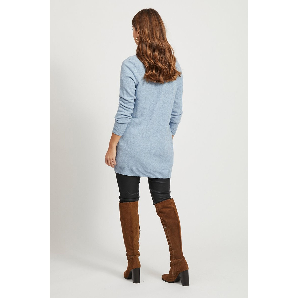 viril l/s open knit cardigan-noos 14044041 vila vest ashley blue