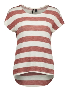 Vero Moda T-shirt VMWIDE STRIPE S/L TOP NOOS 10190017 MARSALA/SNOW WHITE
