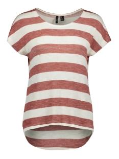 Vero Moda T-shirt VMWIDE STRIPE S/L TOP NOOS 10190017 MARSALA/SNOW WHITE