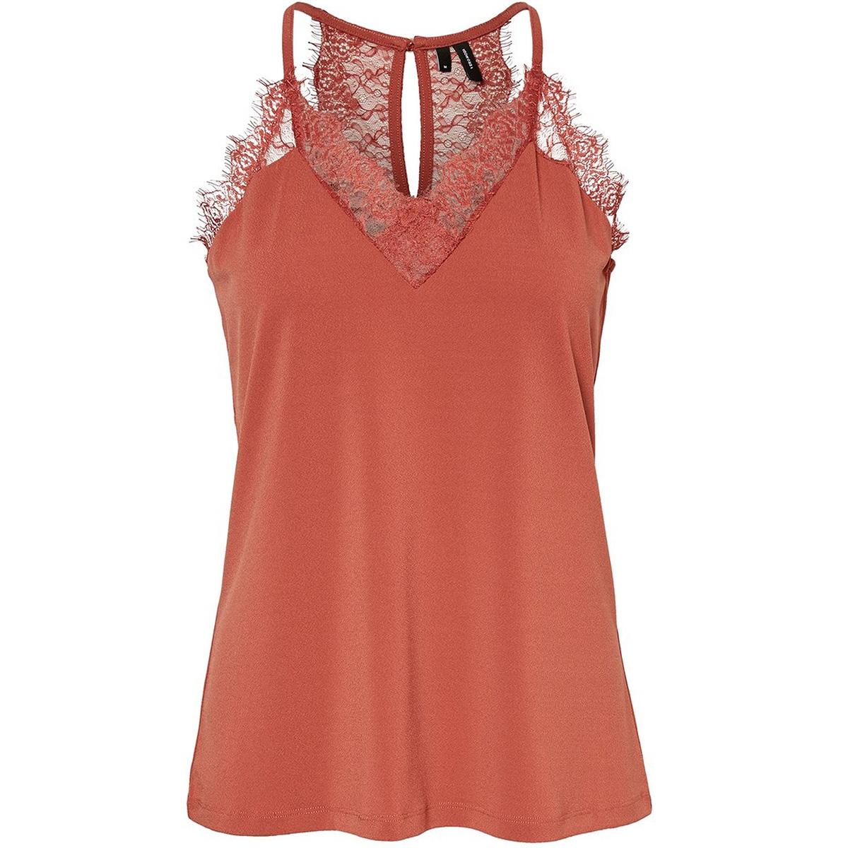 vmmilla s/l lace top color 10209420 vero moda top marsala
