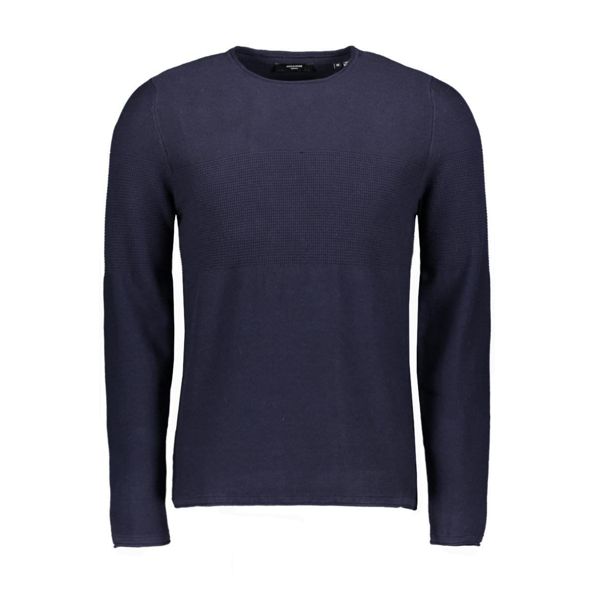 jprblamaximus knit crew organic 12168253 jack & jones trui martitime blue