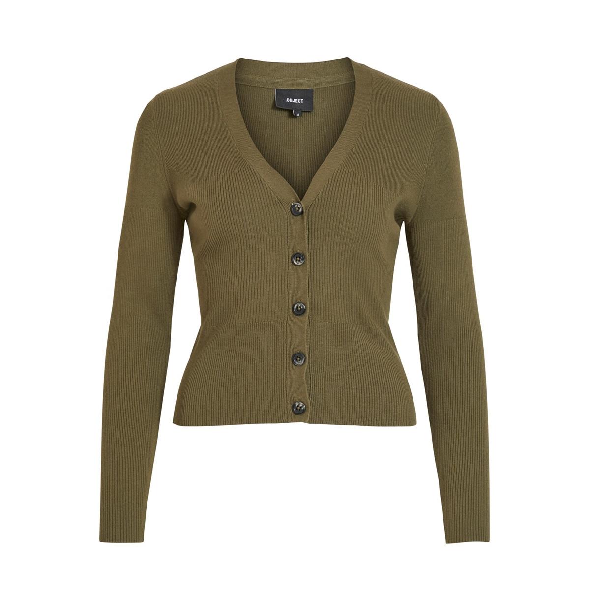 objnina l/s short knit cardigan noo 23031375 object vest burnt olive