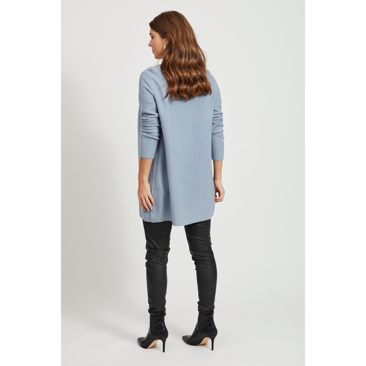 vilalaine knit l/s long cardigan - 14055174 vila vest ashley blue