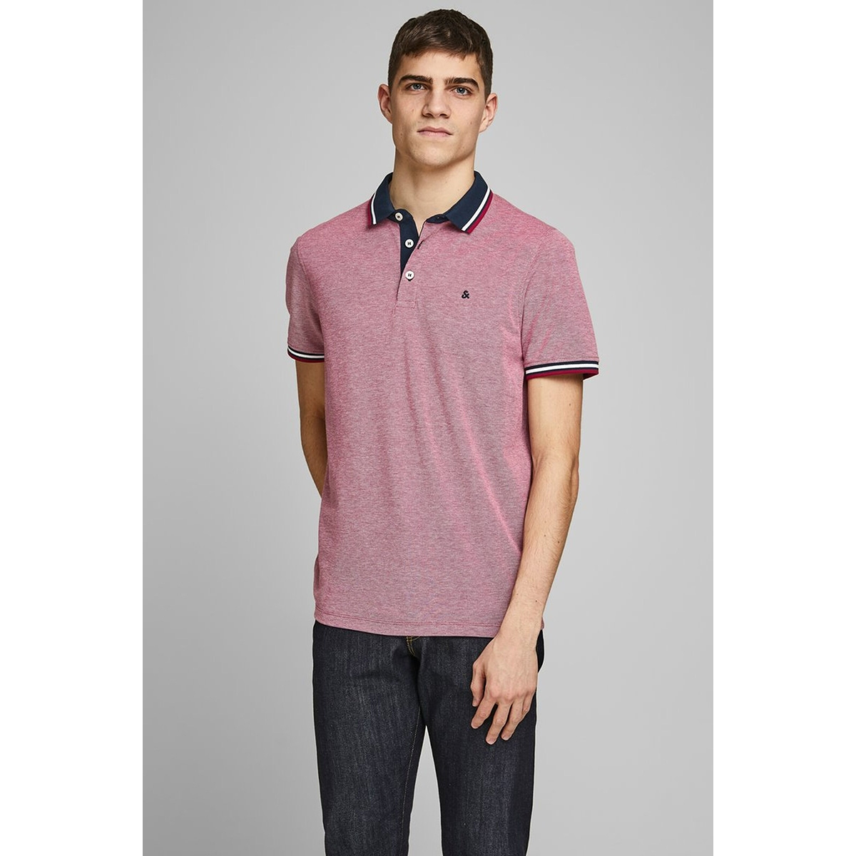 jjepaulos polo ss noos 12136668 jack & jones polo rio red/slim fit