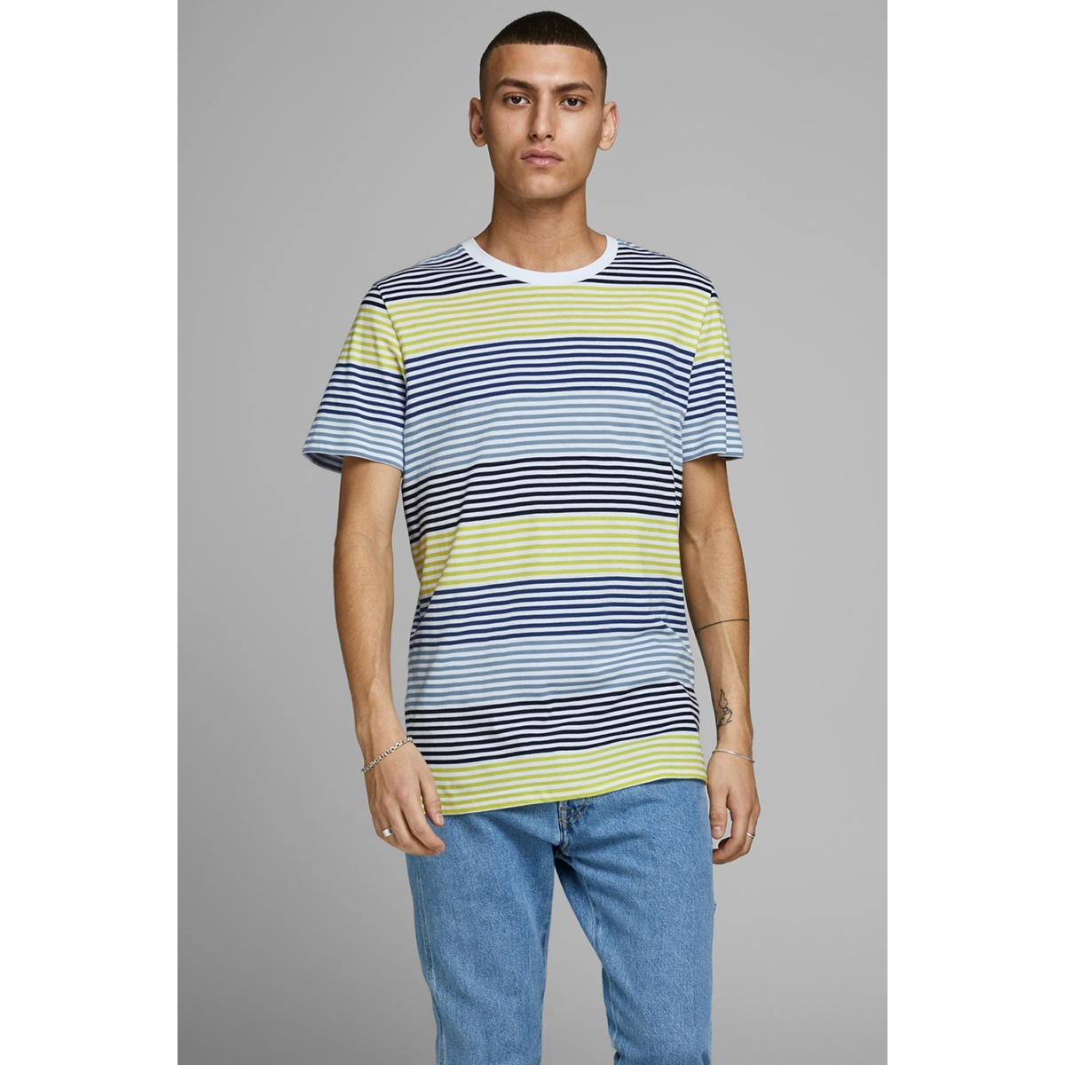 jcoaraf tee ss crew neck 12170181 jack & jones t-shirt sulphur spring/slim