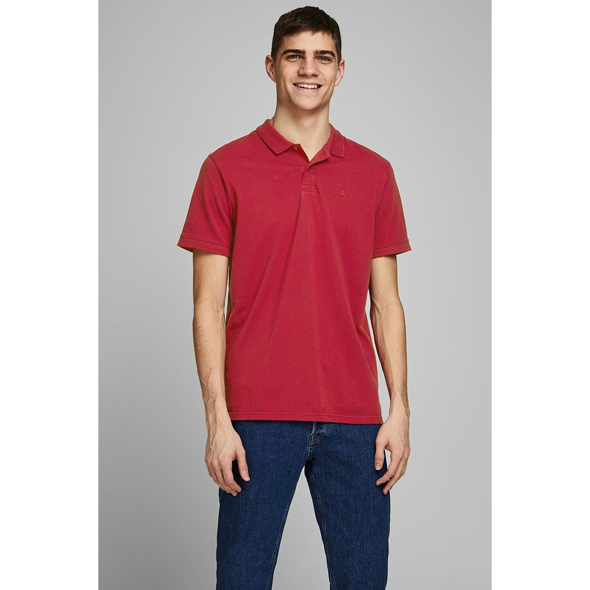 jjebasic polo ss noos 12136516 jack & jones polo rio red/slim fit
