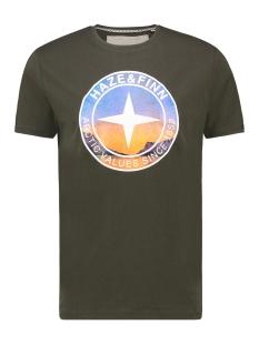 Haze & Finn T-shirt TEE ARCTIC LOGO MA13 0003 ARMY GREEN LIGHT BLUE