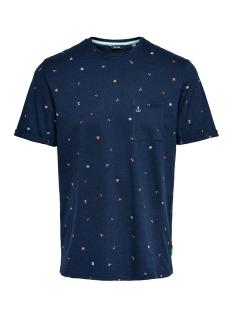 Only & Sons T-shirt ONSRUSSEL REG SS AOP TEE 22015574 Dress Blues