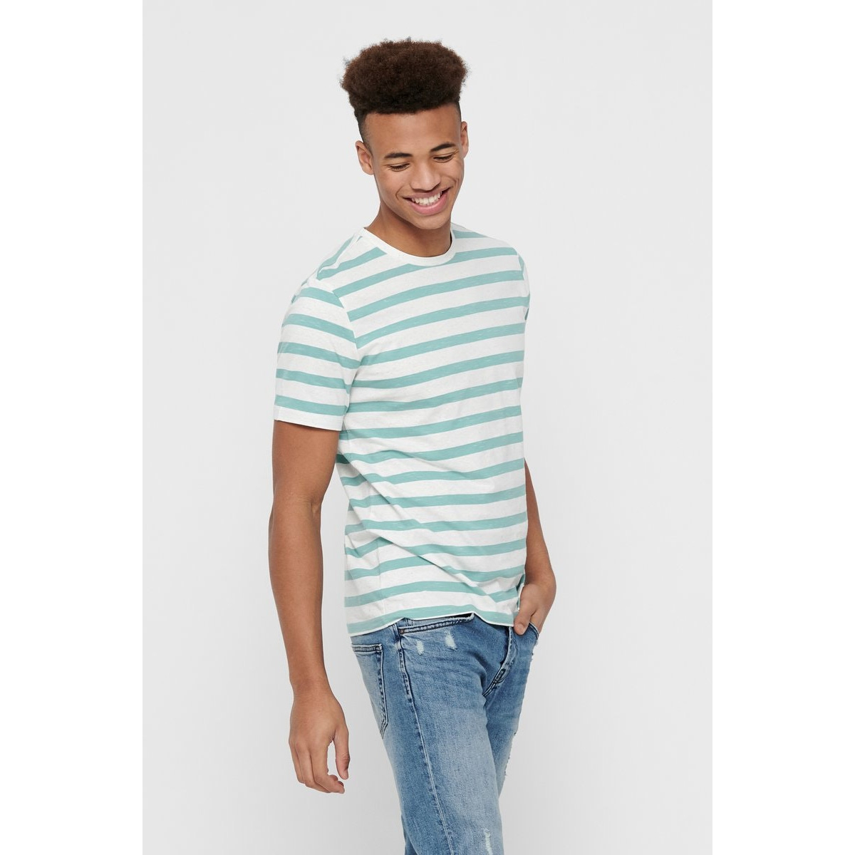 onselky stripe ss tee 22012161 only & sons t-shirt aquifer