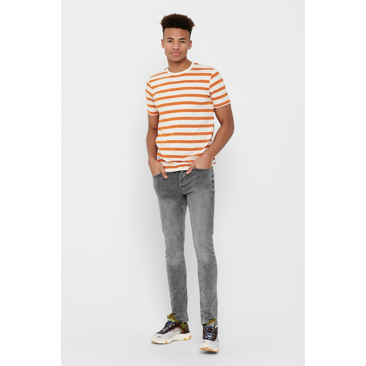 onselky stripe ss tee 22012161 only & sons t-shirt marmalade